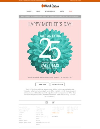 Happy Mother's Day & get an extra 25% off sale!