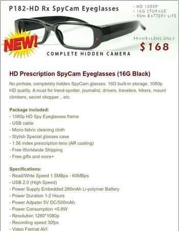 New product: HD SPYCAM EYEGLASSES!!