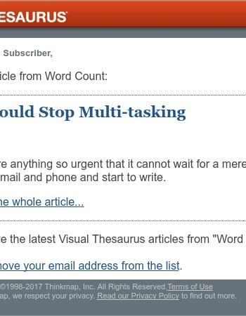 Visual Thesaurus Magazine: Why You Should Stop Multi-tasking