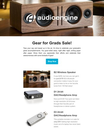 Get your grad a great dorm room or summer internship office system from Audioengine