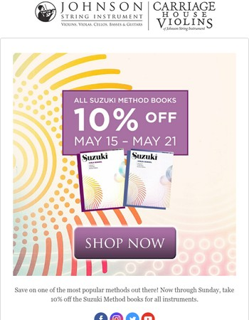 Save on Suzuki Method Books at Johnson String Instrument