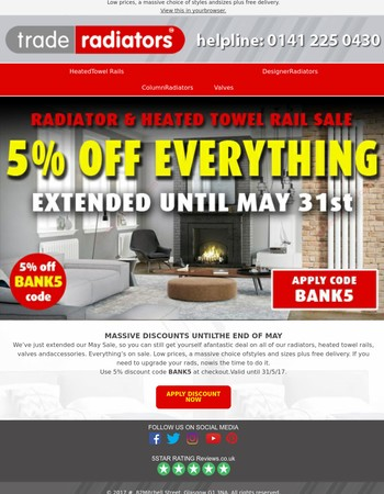 Sale extended until May 31st