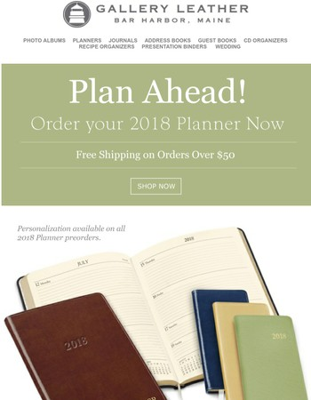 Plan ahead! Order your 2018 planner now!