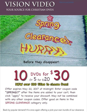 Spring Clearance Sale - only 5 days left!