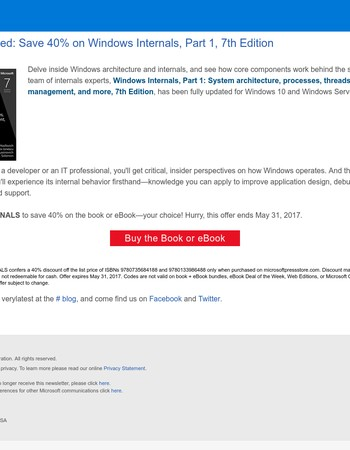 Just released! Save 40% on Windows Internals, Part 1, 7th Edition