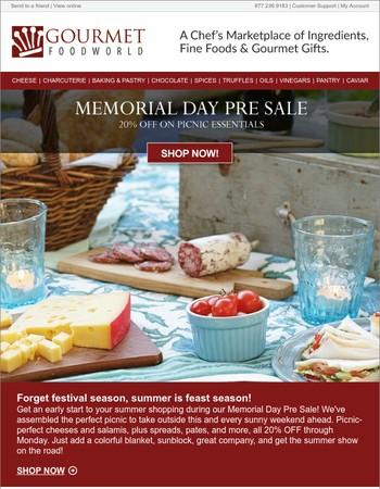 Memorial Day Pre Sale! 20% Off Picnic Favorites