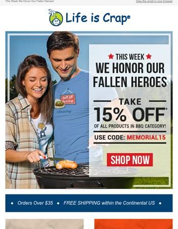 15% Off Memorial Day Sale!