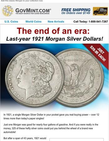 1921 Morgan Silver Dollars at incredibly low prices!