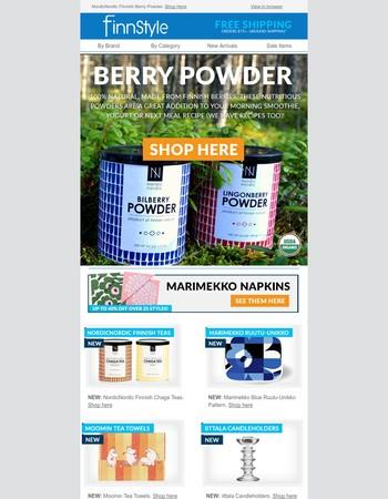 New From Finland: Finnish Berry Powder, Marimekko, iittala, Moomin!
