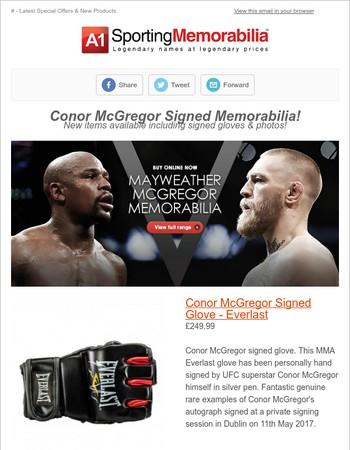 Conor McGregor Signed Memorabilia Now In Stock! PlusAnthony Joshua VIP Package!
