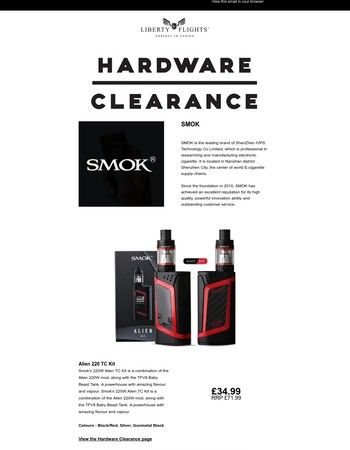 Final TPD Hardware & E-liquid Clearance