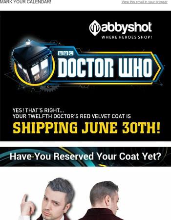 Twelfth Doctor's Red Velvet Coat SHIPPING JUNE 30TH!!!