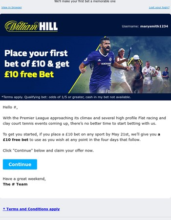 A £10 free bet for the weekend