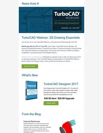 New TurboCAD Webinars, TurboCAD Designer, and more news