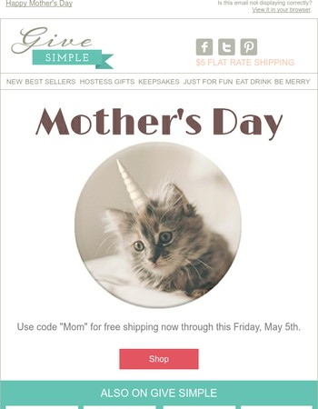 Free Shipping for Mother's Day