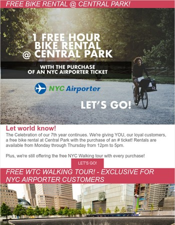 Free Bike Rental at Central Park and Free WTC walking Tour!