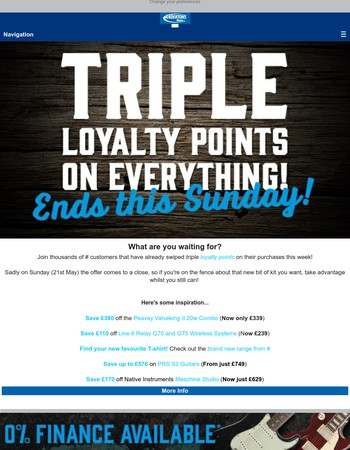 LAST CHANCE: Triple Loyalty Points ending soon, hurry!!