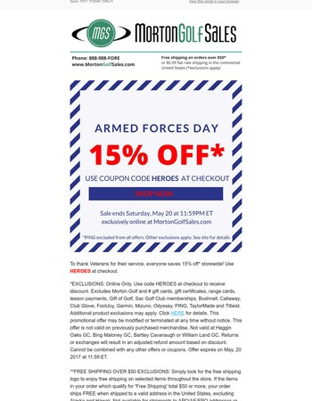 Armed Forces Day Sale