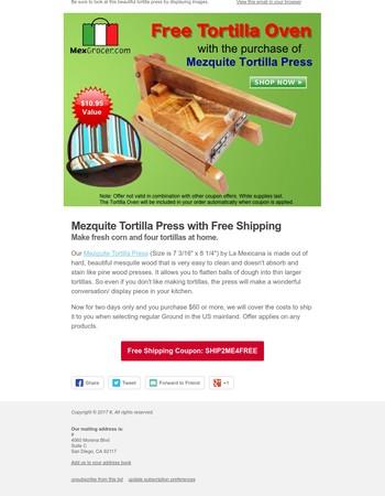 Mezquite Tortilla Press w/ Free Shipping + Tortilla Warmer