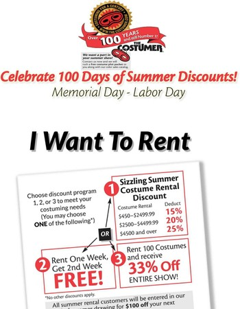 Coupons for Summer Savings! The Costumer