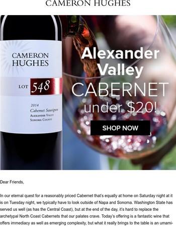 Just Released: Dynamite Alexander Valley Cabernet Under $20!