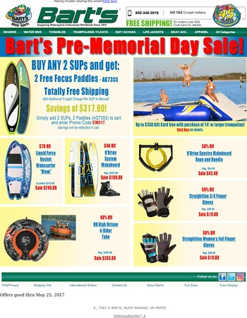 Bart's Pre-Memorial Day Sale - Ends Thursday