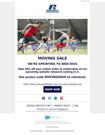 MOVING SALE: 30% Off Your Entire Order