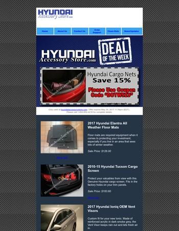 Save 15% on Cargo Nets  - HyundaiAccessoryStore