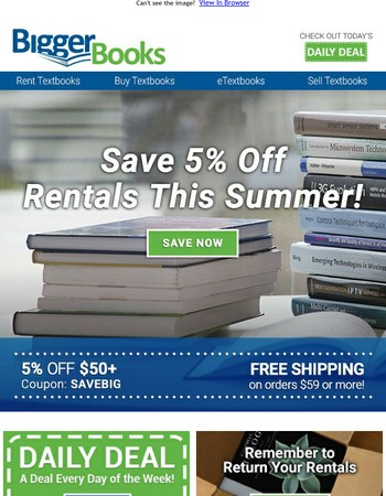 Save on Rentals | 5% off & Daily Deals