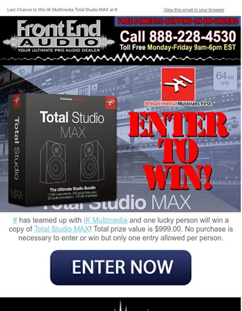 Last Chance to Win IK Multimedia Total Studio MAX at Front End Audio