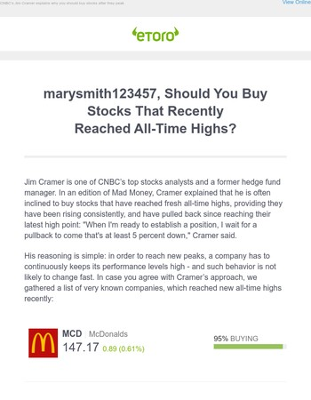 """marysmith123457, """"all-time high"""" could be the time to buy"""