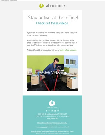 Stay active at the office! Check out these videos.