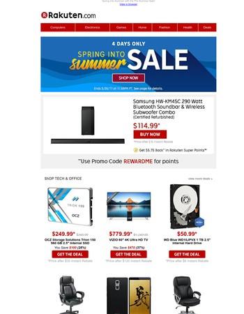 $114.99 Samsung Bluetooth Soundbar Combo (Refurbished) | $50.99 WD 1TB Internal Hard Drive | $25 Rolling TV Tray