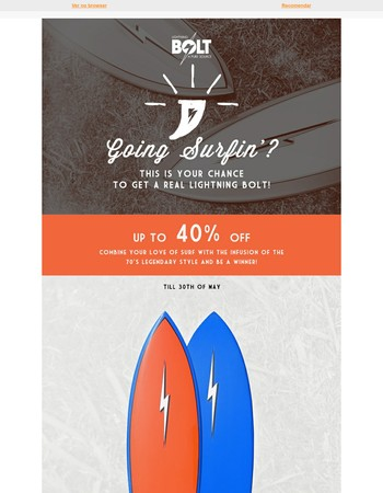 Up to 40%OFF on all Surfboards// LIGHTNING BOLT ⚡