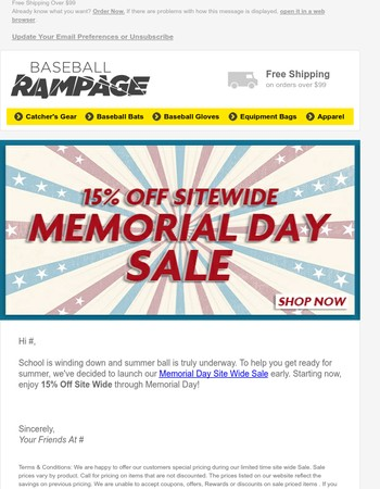 Memorial Day Sale Starts Now: 15% Off Site Wide