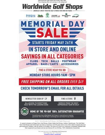 Memorial Day Sale Starts Tomorrow!