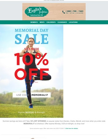 Save big this Memorial Day Weekend with 10% OFF SITEWIDE!