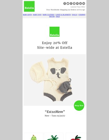 20% Off starts now - Estella Memorial Weekend Sale