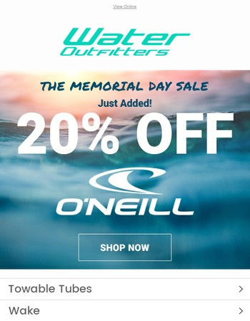 20% OFF O'Neill Just Added! | Memorial Day Sale Continues