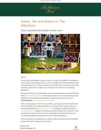 Game, Set and Match at The Milestone