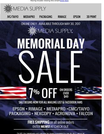 Memorial Day Coupon from MediaSupply.com