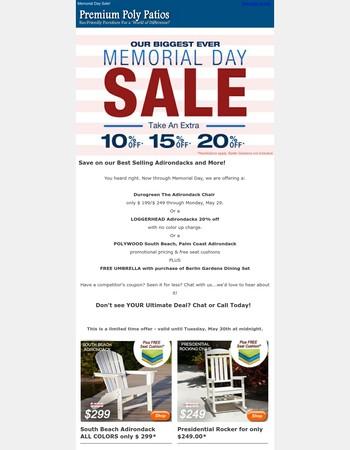 Memorial Day Sale - Premium Poly Patios