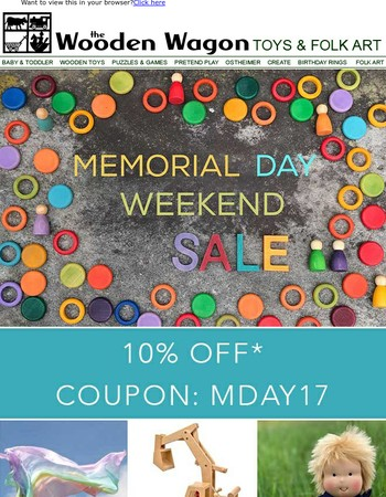 Memorial Day Weekend Savings at The Wooden Wagon