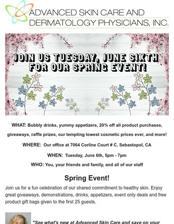 Join us for our Spring Event - June 6th
