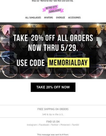 Sale: Take 20% Off Everything Now Thru Monday