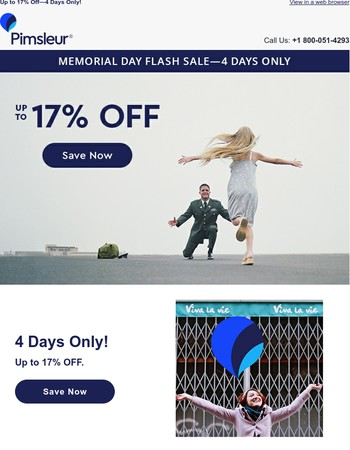 Memorial Day Sale: up to 17% Off