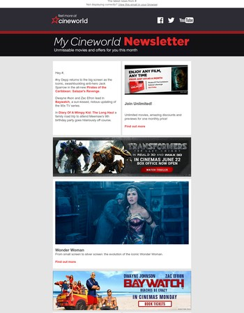 My Cineworld Newsletter