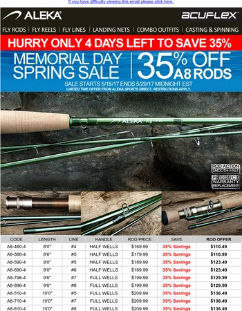 Aleka A8 Fly Rod Memorial Day Savings (4 days remaining)