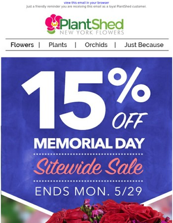 It's Time for a Super Sale - Shop Now with 15% OFF on Flowers & Indoor Plants