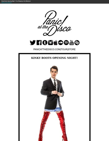 Kinky Boots Opening Night + Free Shipping in the Webstore!
